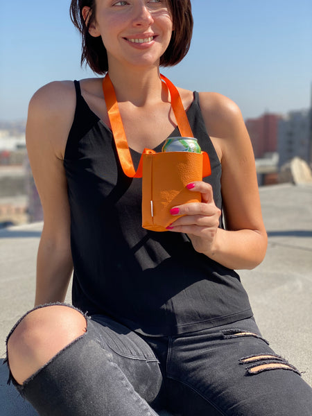 Cup Necklace Holder Faux Leather and Satin Ribbon.  Beverage Can Necklace Holder,  Water bottle Necklace holder,  Beer Bottle Large,  Keep Your Hands Free, Orange Drink necklace holders