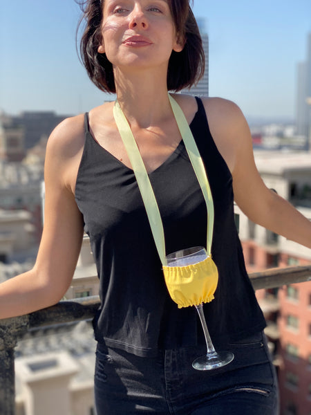 Wine Necklace Holder, Wine Festival, Wine & Food Festival, Keep Your Hands Free for Food degustation, Have Fun, at your Private Party with Hands Free, Yellow Necklace Holder