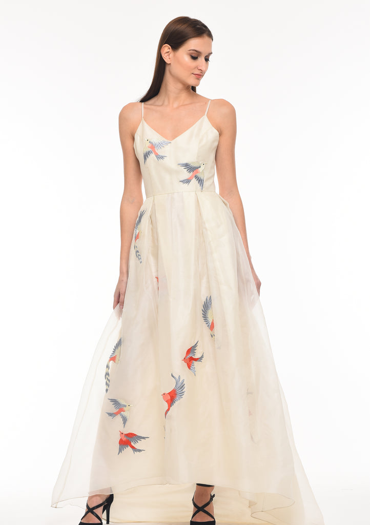 wedding dress ethical design craftsmanship embroidered dress silk
