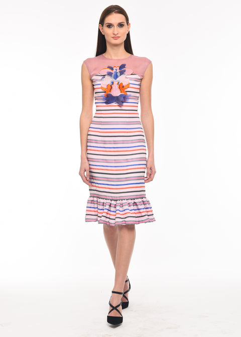Agaati Multicolor Fitted Printed Dress - Front