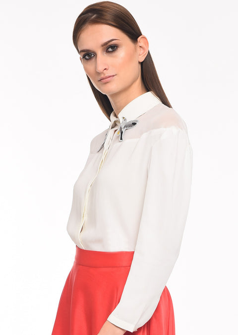 Flight of Freedom - Agaati White Collared Shirt with Embroidery - Side close-up