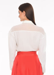 Flight of Freedom - Agaati White Collared Shirt with Embroidery - Back close-up