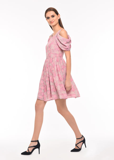 Luxe Printed Short Silk Dress - AGAATI