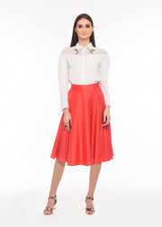 Flight of Freedom - Agaati White Collared Shirt with Embroidery - Front