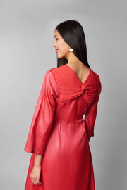Coral Silk Dress - AGAATI