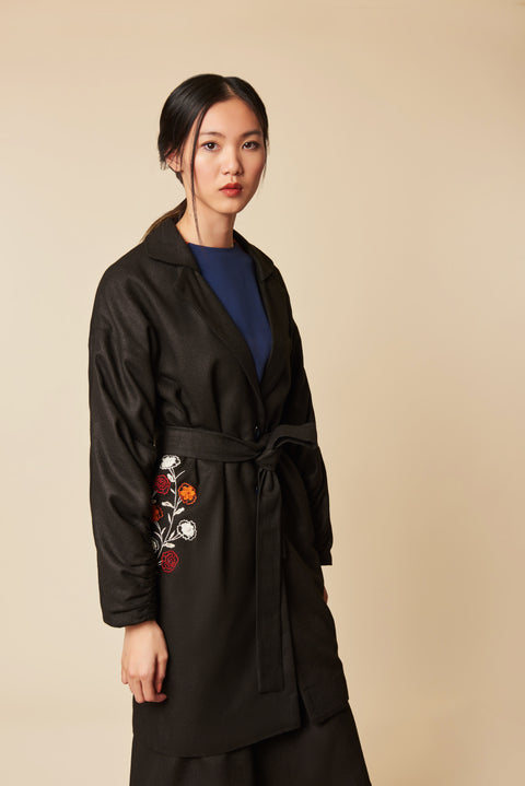 Silk Waist Embroidered Coat