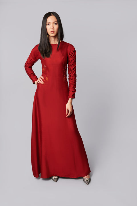 Long Silk Embroidered Dress