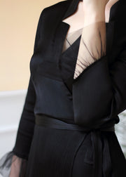 Agaati Midi Summer Wrap Black Dress - front close-up
