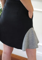 Agaati Side Panelled Black A-lined skirt - Side Close up
