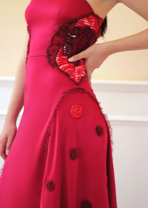 Agaati Hand Embroidered Carnation Dress - side close-up