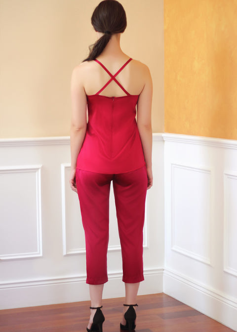 Agaati Luxe Cropped Maroon / red Silk Pant - Back