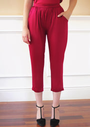 Agaati Luxe Cropped Maroon / red Silk Pant