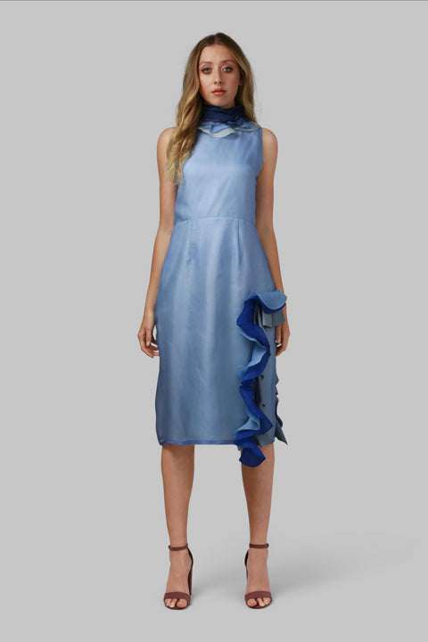 Blue Silk Midi Dress - AGAATI