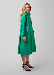 Belted Loose Fit Embroidered coat - AGAATI