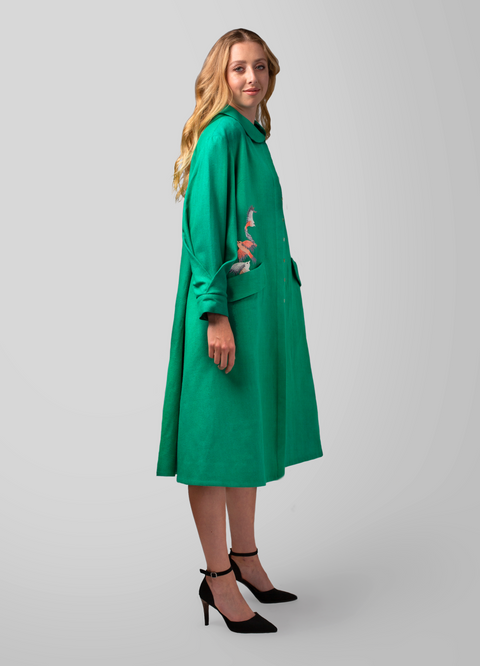 Belted Loose Fit Embroidered coat