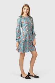 Floral print silk and wool blend dress
