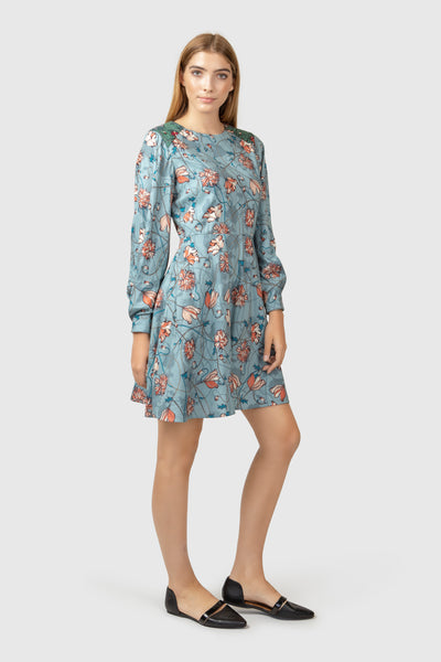Floral print silk and wool blend dress - AGAATI