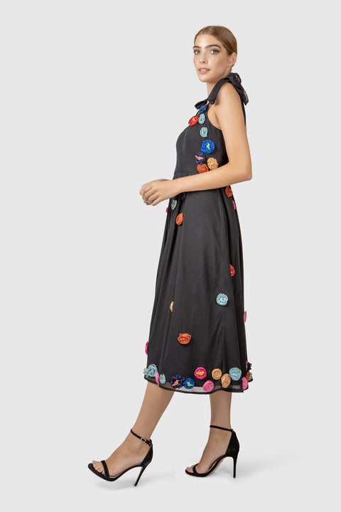 Hand Embroidered Tulle Midi Dress - AGAATI