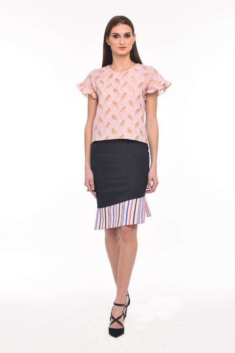 The new cool top - Agaati Burnt Pink with bird pattern cotton top - Front