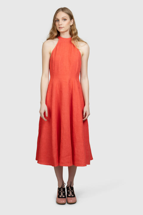 High Neck Organic Cotton Midi Dress - AGAATI