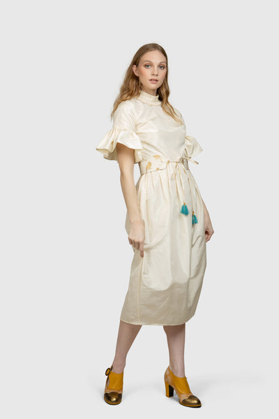 High Neck Silk Midi Dress - AGAATI