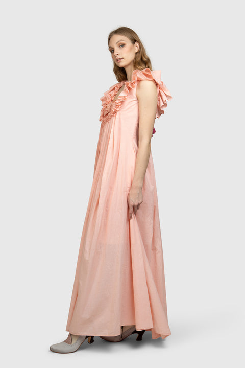 Tie-Back Organic Cotton Maxi Dress - AGAATI