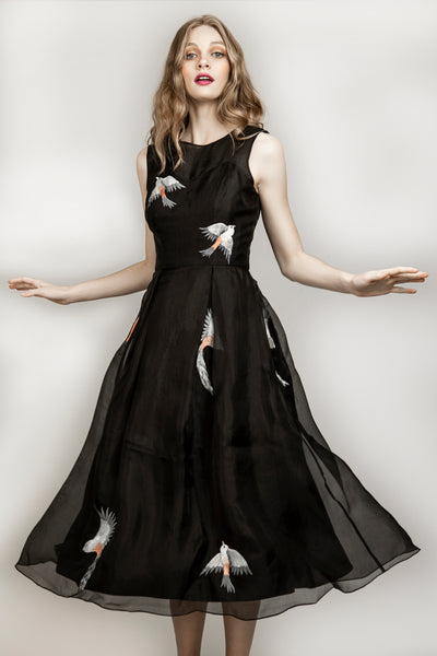 Black Embroidered Midi Dress - AGAATI