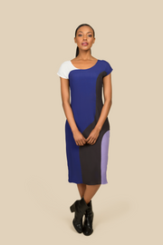 Agaati Midi Panelled blue Dress - Front 2