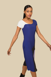 Agaati Midi Panelled blue Dress - Side