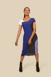 Agaati Midi Panelled blue Dress - Front 1