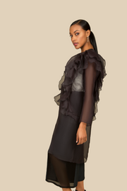 Ruffled Sheer Silk Outerwear
