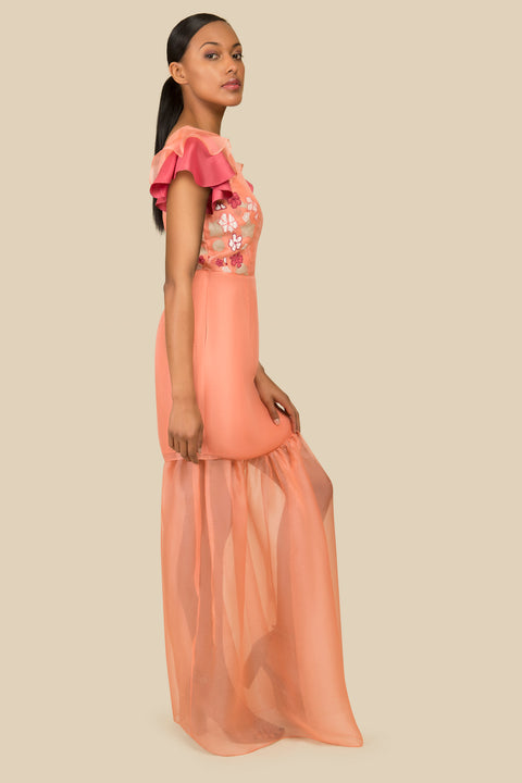 Agaati Hand Embroidered Silk Dress with detachable skirt - Back