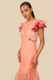 Agaati Hand Embroidered Silk Dress with detachable skirt - side