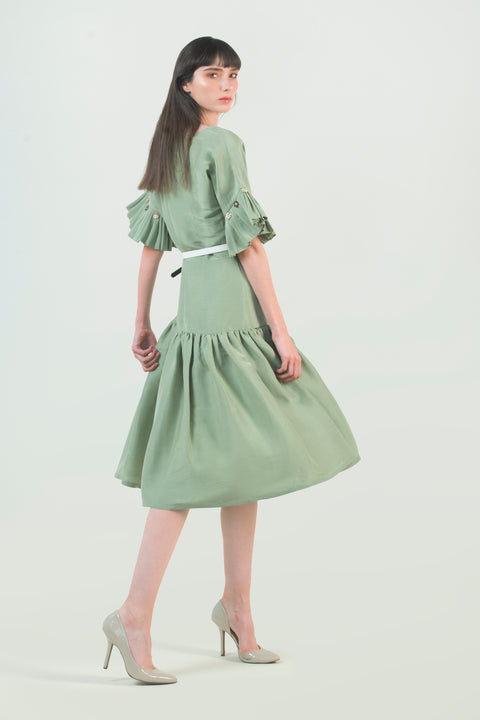Hemp Silk Ruched Dress - AGAATI