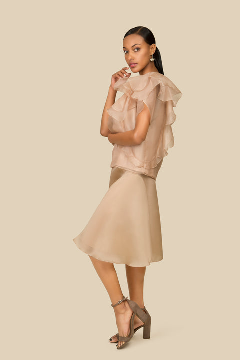 Agaati Summer Beige Silk Organza Ruffled Top - Side