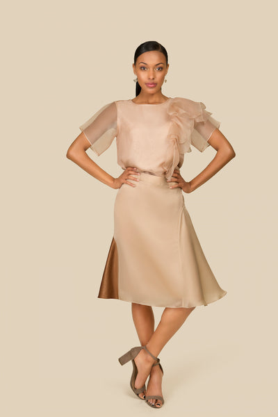 Agaati Summer Beige Silk Organza Ruffled Top - Front
