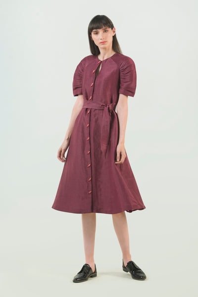 Hemp Silk Midi Dress - AGAATI