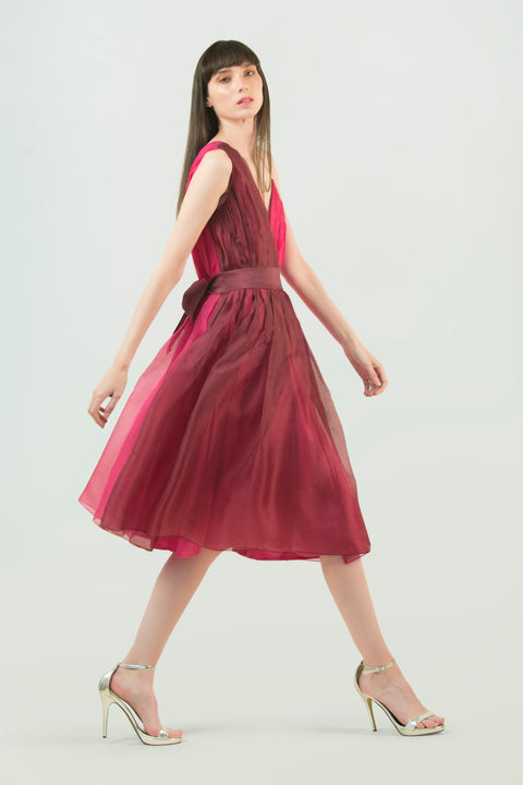 Hand Ruched Silk Dress