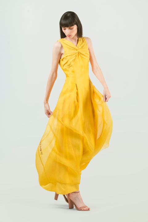 Long Yellow Cocktail Dress