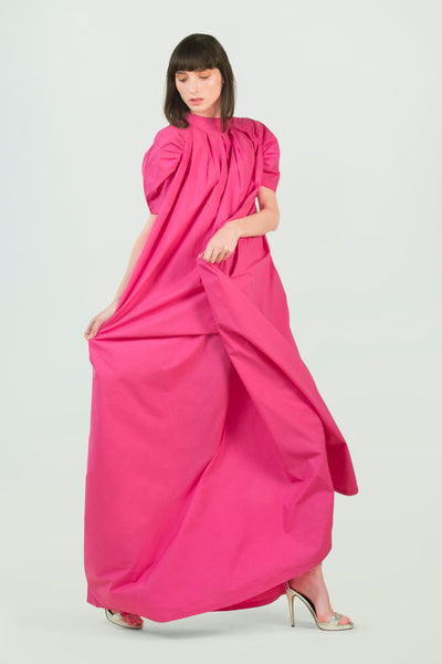 Pink Supima Cotton Long Dress - AGAATI