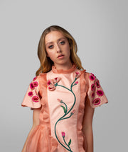 Floral Embroidered Silk Dress - AGAATI