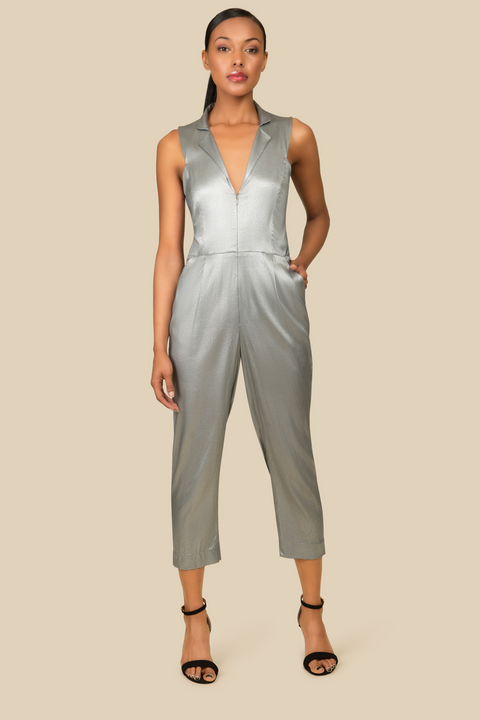 Agaati Silver Silk Jumpsuit with front zipper - Front 2