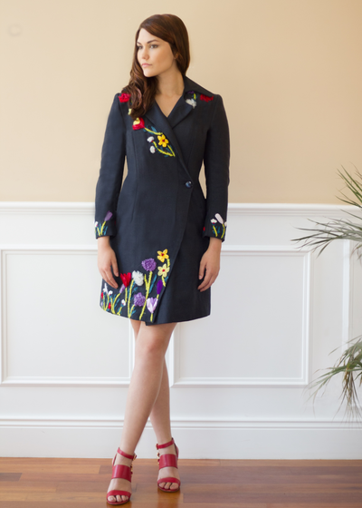 Agaati Black Winter Bloom Coat with Embroidery - Front