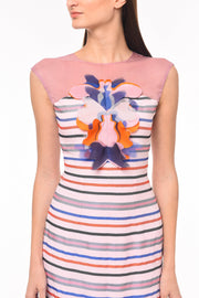 Agaati Multicolor Fitted Printed Dress - Front close up 2