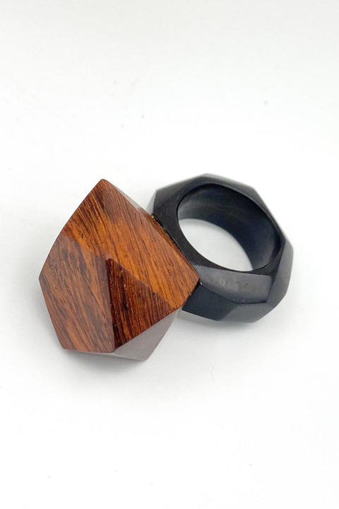 Hand Carved Wooden Ring - AGAATI