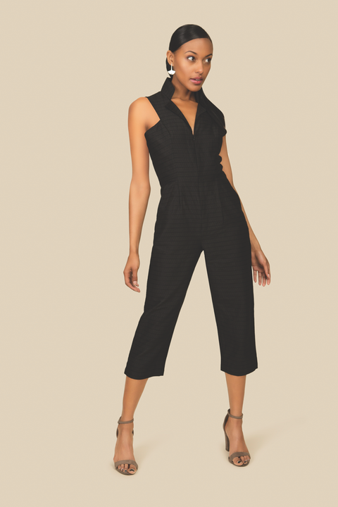 All Day Black Cotton Jumpsuit with Front Zipper - AGAATI
