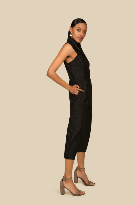 Agaati All Day black cotton Jumpsuit with front zipper - Side