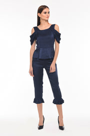 Draped Sleeve Navy Top - Front