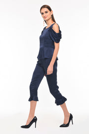 Draped Sleeve Navy Top - side