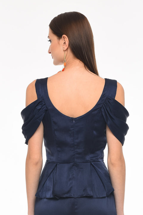 Draped Sleeve Navy Top - Back close-up